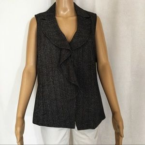 ADDITIONS BY CHICO Ruffle Front Vest Sz L